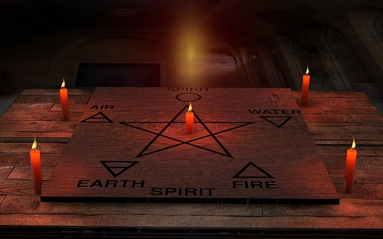 キャンドル, スペース, 木材, パガンにおけ, 五芒星, 空気, 幽霊, 地球