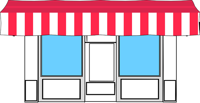 Markise, Speicher, Shop, Einzelhandel