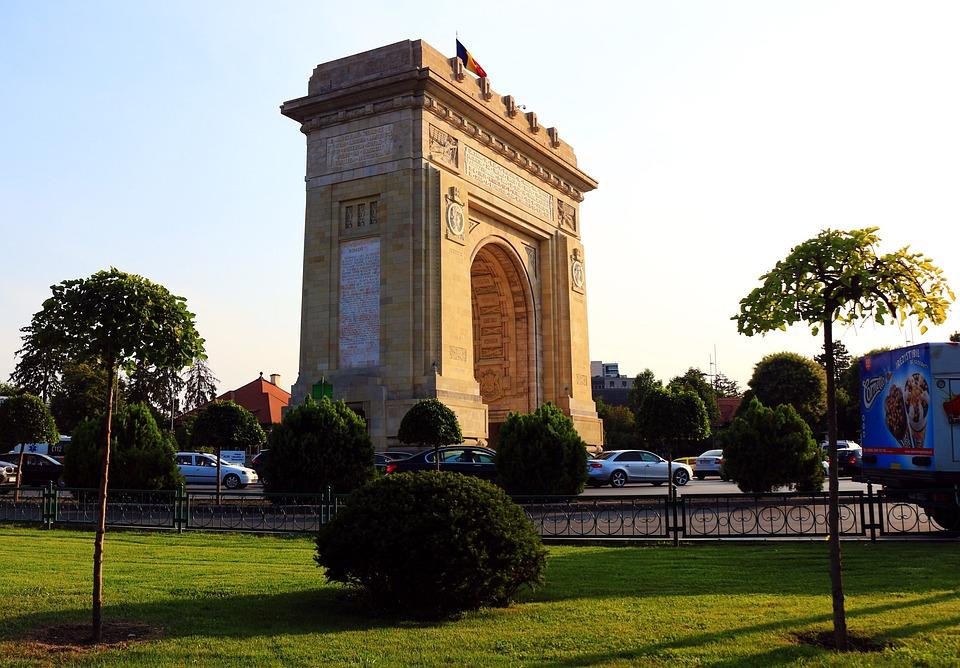 Bucharest, Arc De Triomphe, Landscape, Trees, Park