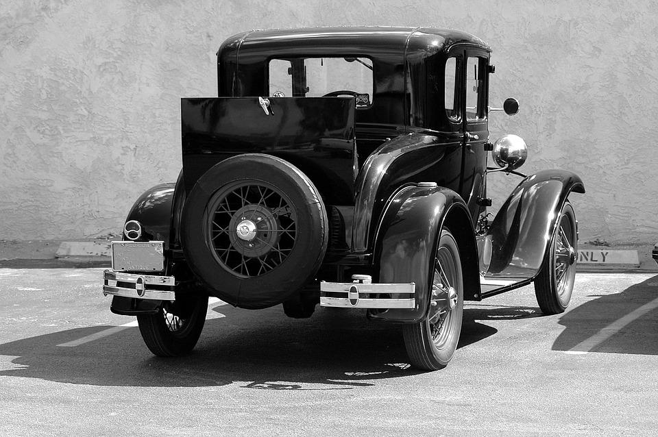 Old model t ford black white vintage car