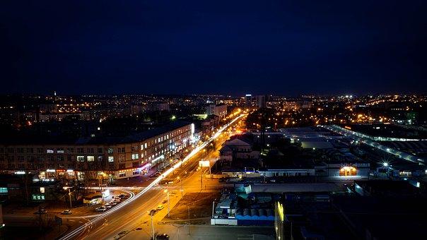 Stadt, Kharkov, Nacht, Ansicht, Auszug