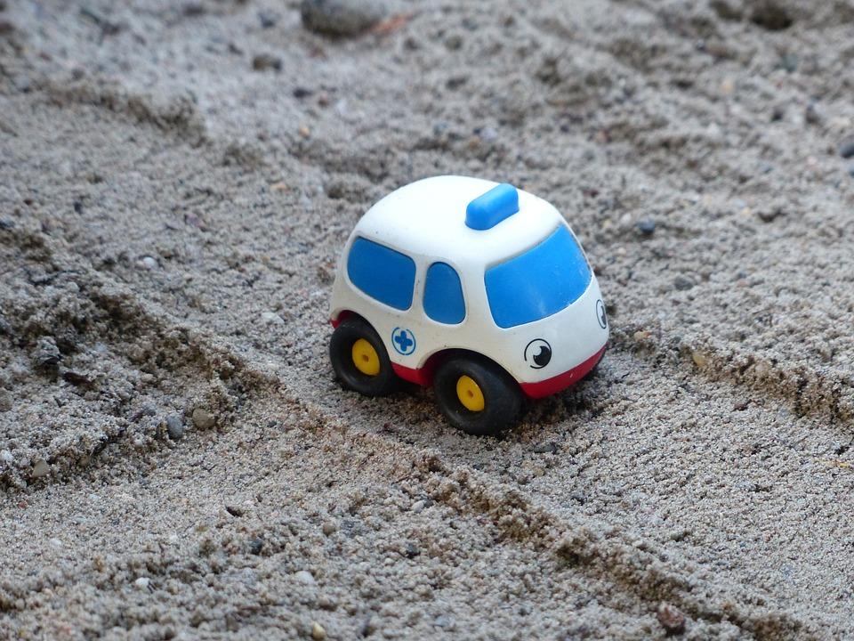 救急車, ボボ, ケア, 砂, グッズ, 救済, ビーチ, 子, 再生, 緊急事態