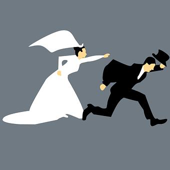 エスケープ, 結婚, 男性, 女性, 恐怖, 結婚高速, 人, 保持, 大人