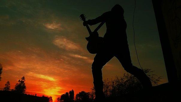 シルエット, 男, ギター, タ, ミュージシャン, 楽器, 音楽, 歌