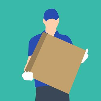 ボックス, 宅配便, 提供します, 配信, 男性, パッケージ, 郵便