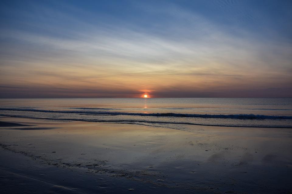 Puesta Del Sol, Mar Del Norte, Playa, Abendstimmung