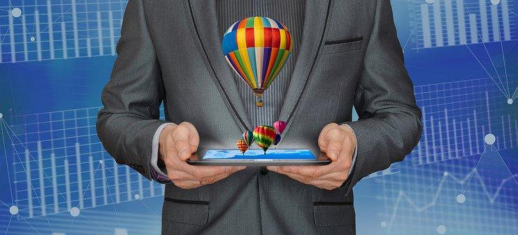 職人, アナリティクス, ビジネス, 企業, 成長, 熱気球, マーケティング