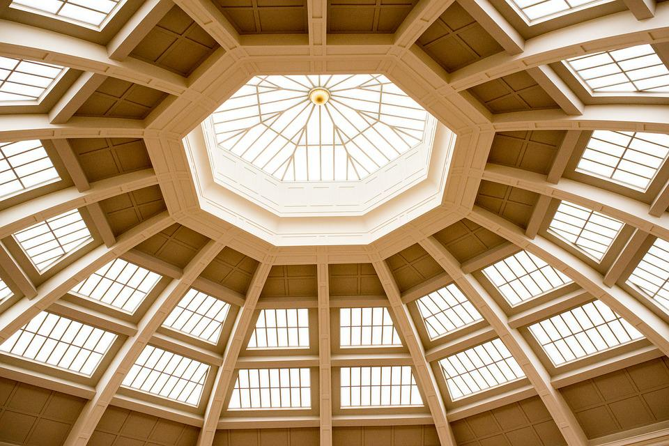 Ceiling, Roof, Symmetry, Interior