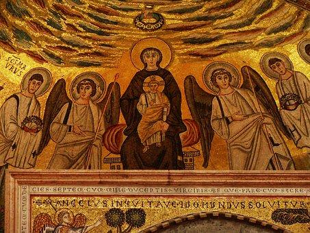 Mosaic, Virgin Mary, Baby Jesus, Angels