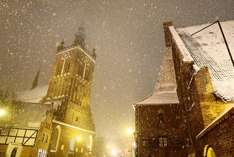 Śnieg, Śnieżyca, Pada Śnieg, Noc, Miasto, Światła