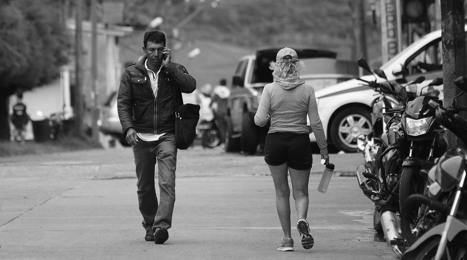 Black And White People Walking Colombian