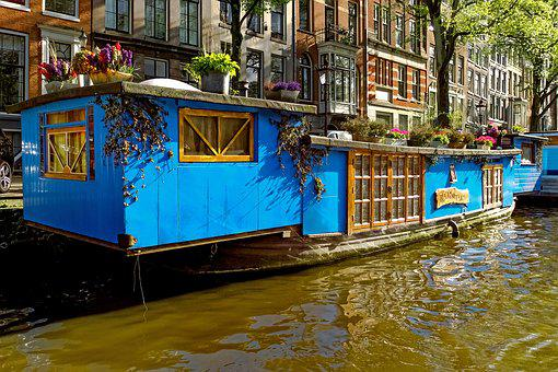 Barge, Houseboat, Boat, Canal, Waterway