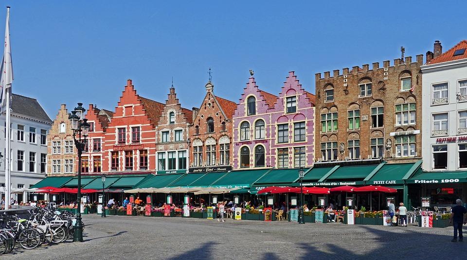 布鲁日, 大市场, 山墙房屋, 餐厅, 外送餐饮服务, 砖, 熟料, 历史城市中心, Stadtmitte
