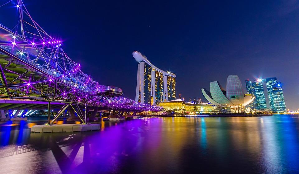 新加坡, 滨海湾, 螺旋, 城市景观, 晚短
