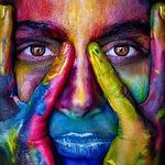 dziewczyna, twarz, kolorowe