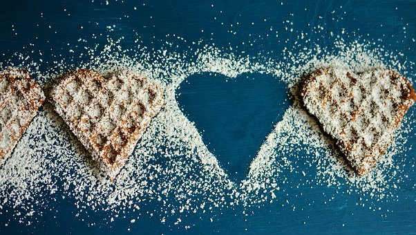 Waffle Heart, Waffles, Icing Sugar