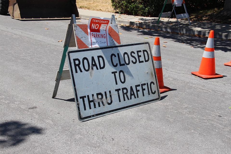 Road Closed, Construction, Detour, Road, Closed, Sign