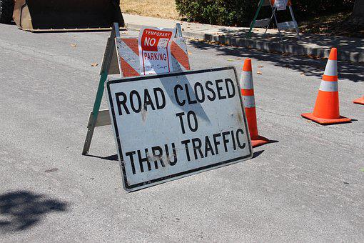 Road Closed, Construction, Detour, Road
