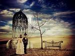 bride and groom, creepy, skeleton