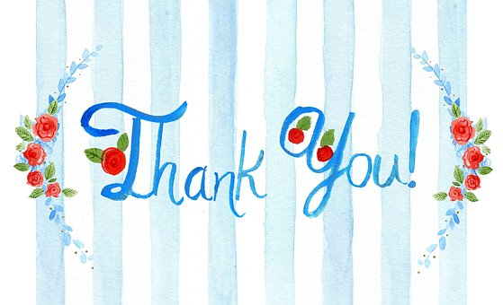 Thank You, Card, Greeting, Watercolor