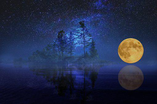 Full Moon, Landscape, Sea, Lake, Island
