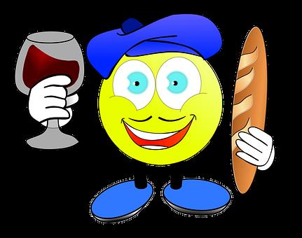 Frenchman, Beret, งบประมาณ, ไวน์, ยิ้ม