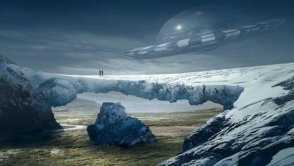 Fantasy, Landscape, Ufo, Glacier
