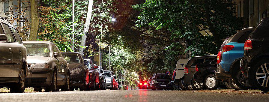 ストリート, 駐車場, 車, 市, 夜, アスファルト, 方法, 光