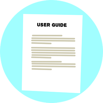 "graphic of a page titled ""user guide"""