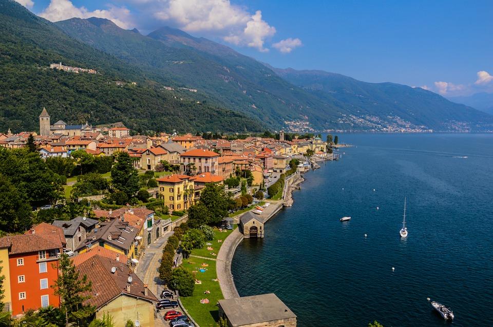 Lago Maggiore, Tó, Olaszország, Táj, Panoráma, Cannobio