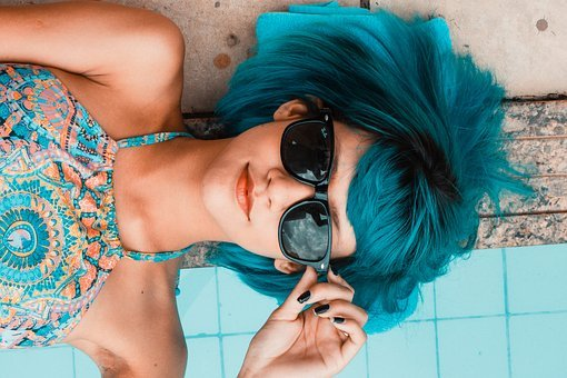 Blue, Sunglasses, Woman, Pool, Look