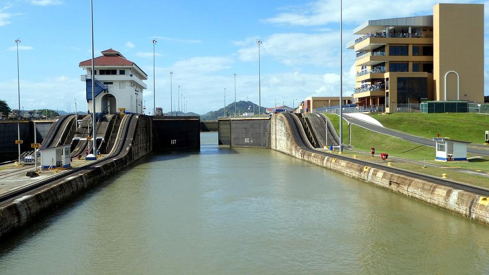 Panamá, Canal Do Panamá, Caribe, Céu, Bloqueio, Canal