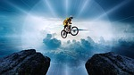 mountain bike, jump, friends