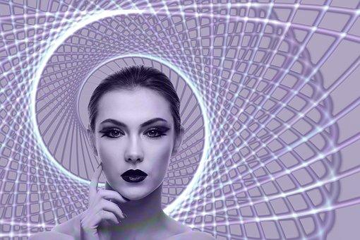 Spiral, Woman, Face, Head, Circle