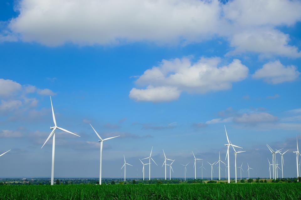 分野の風力タービン, タービン, 空, ライトブルー, 雲, 景色, 風景, スカイライン, タイ, トラベル