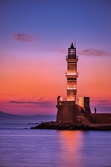 Greece, Lighthouse, Sea, Ocean, Sunrise