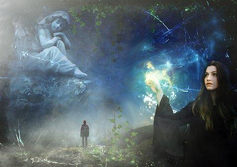 Magia, Estrelas, Luz, Noite, Mulher