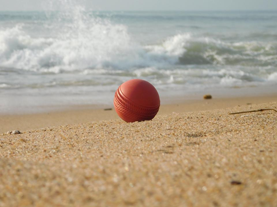 Ball, Cricket, Beach, Water, Sand