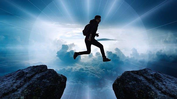 Clouds, Cliff, Jump, High, Rock, Boy