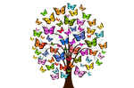 butterflies, tree, colorful