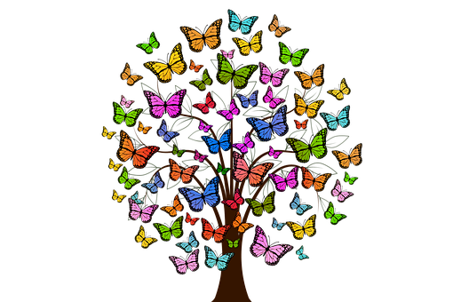 Butterflies, Tree, Colorful, Color, Ease
