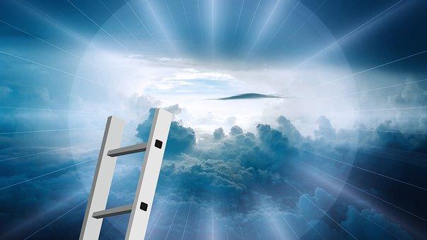 ヘッド, 超えて, 雲, 空, 神, 宗教, 光線, 輝きます, 光, 移行