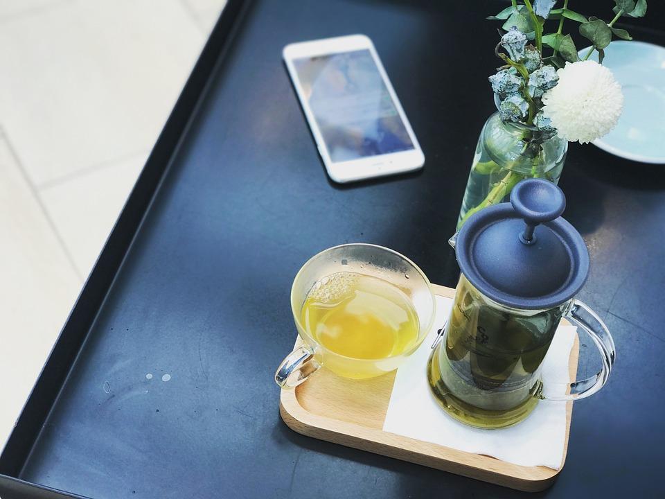 茶, お茶, モバイル, Iphone, 携帯電話, プラント, 工場, 生活, 生活習慣