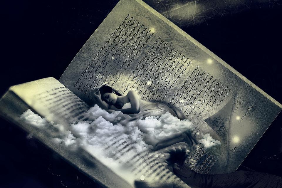 Vrouw, Bed, Dromen, Slaap, Fantasie, Fotomontage