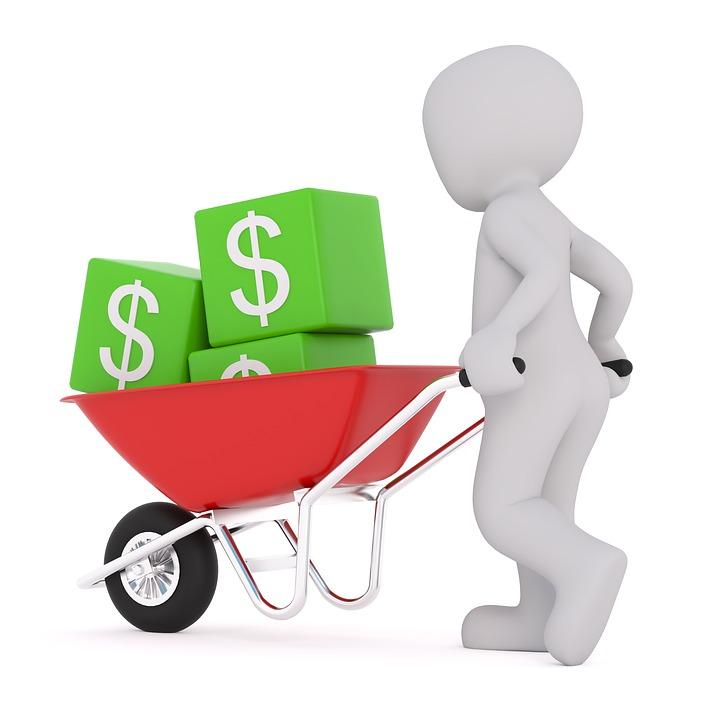 Dollar, 交通機関, インフレ, お金, 外国為替, デフレ, 帝国, 手押し車, カート