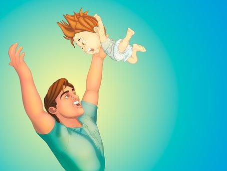 Vater, Sohn, Baby, Union, Familie, Liebe