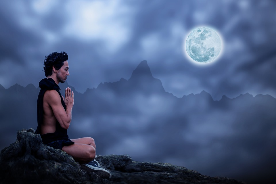 Meditation, Man, Meditate, Rest, Yoga, Moonlight, Moon