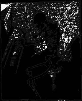 Skelett, Jahrgang, Vektor, Klavier