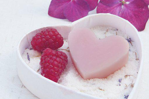 Soap, Heart, Pink, Badesalz, Salt