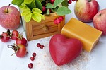 soap, heart, red